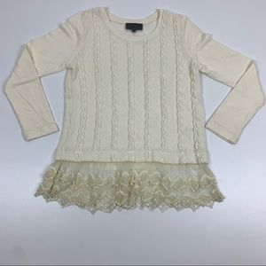 Anthropologie Sunday in Brooklyn Lace Trim Sweater